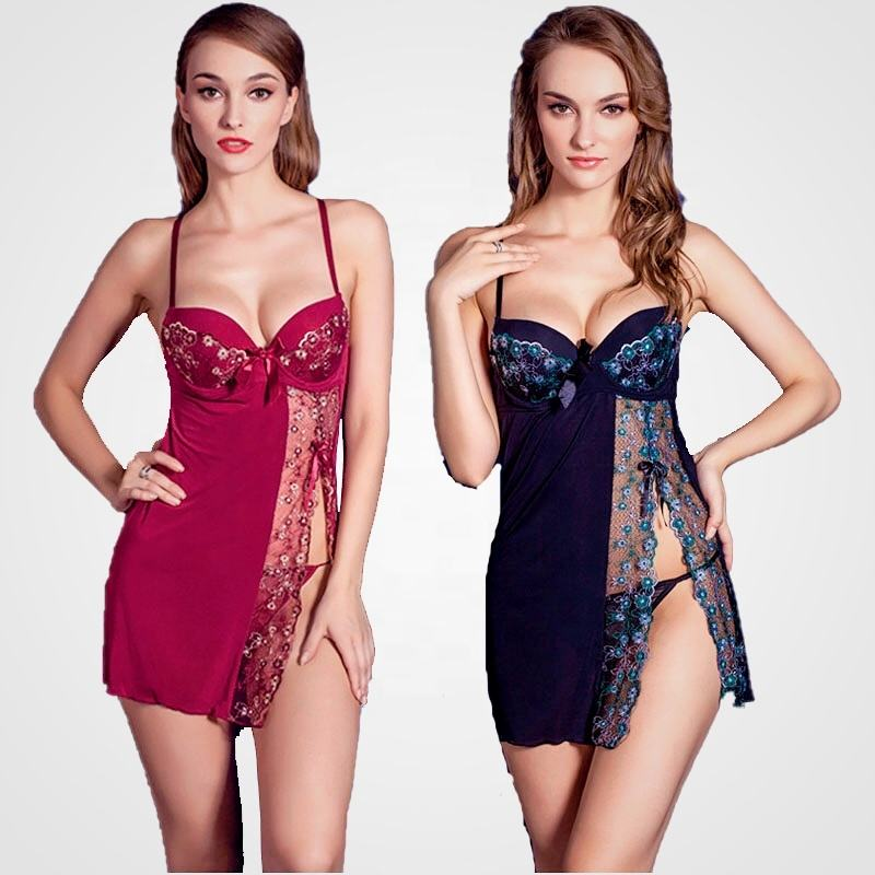 Women lingerie Lace Chemise Babydoll Erotic Full Slips Semi Perspective robe braces skirt Sexy pajamas