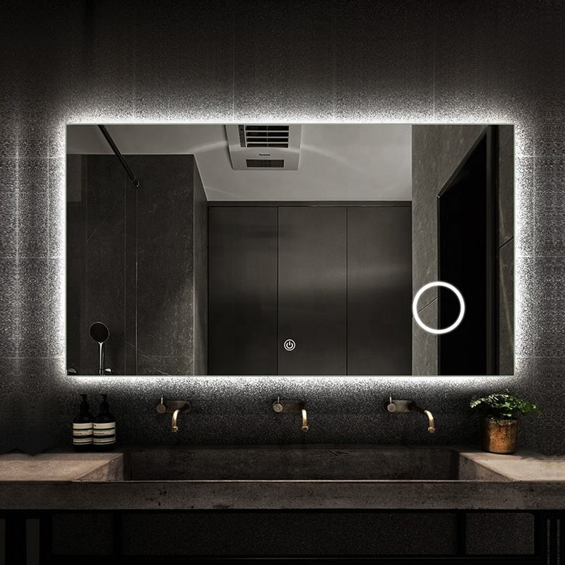 Hotel Vanity Wall Frameless Backlit Mirror with LED Light Bathroom