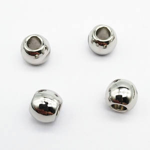 #107 7.5mm Width alloy bead in shiny silver color, alloy toggle, metal cord end and stopper
