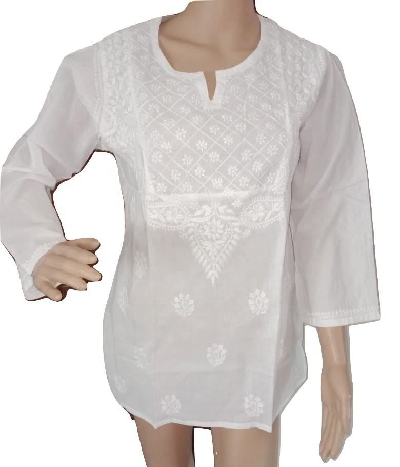 White Cotton Embroidered Tunics - Top - Lucknow Chikan Kurti - Cotton short kurta - wholesale white cotton Kurtis