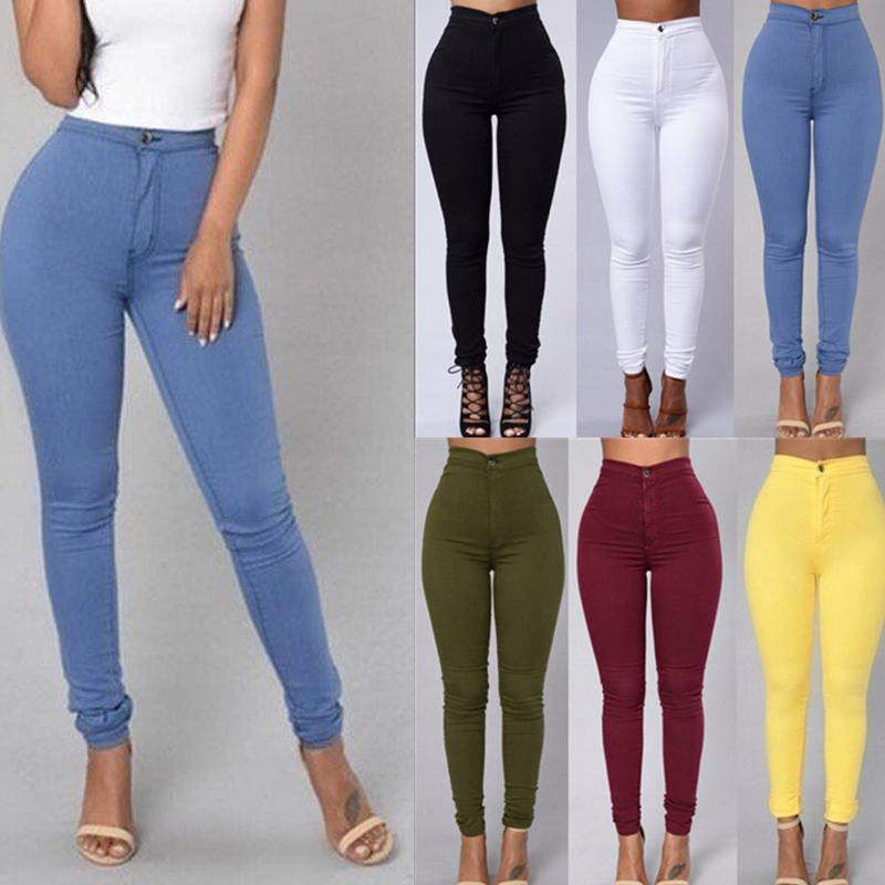 2021 RTS Wholesale Women'S Skinny Pants Candy Color Slim Stretch Legs Basic Casual Lady Women Pants Women's High Waist Jeans