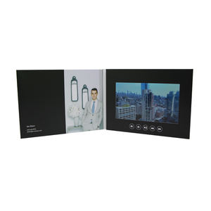 Customized Corporate Creative 7 Inch softcover Digital Lcd Screen Video Brochure video greeting card