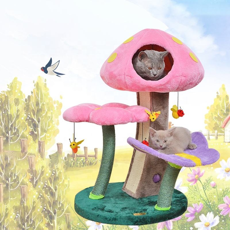 Interactive cat tree scratch board the paradise of cat house castle kitty villa nest mushroom cat toy top quality