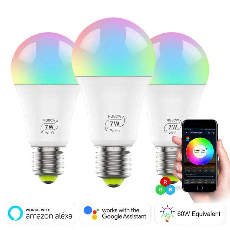 Remote APP control WIFI RGB smart bulb E27 energy saving wireless bulbs work with google home alexa