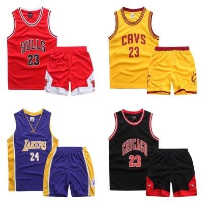 New arrival summer casual Boys 2 Pieces sports clothing Set basketball star number Jersey set for boys and girls