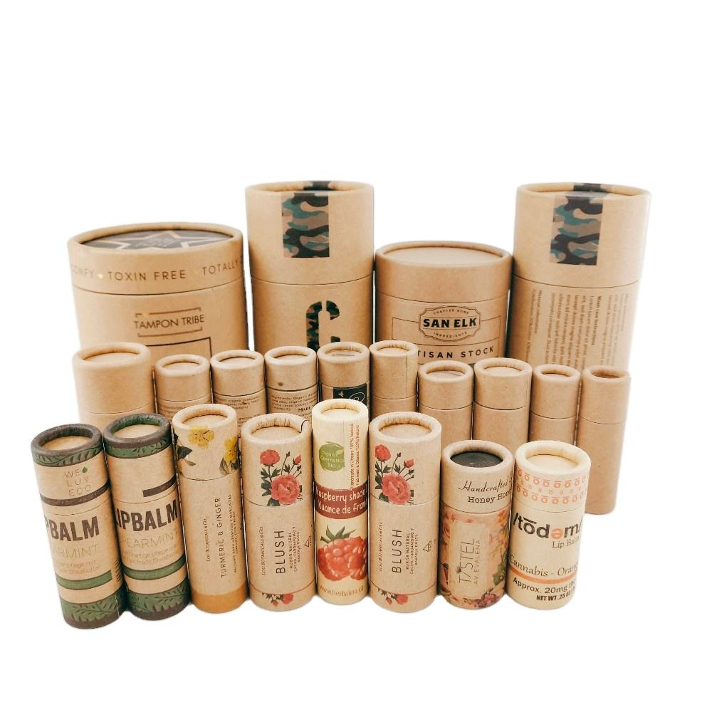 Custom Printed biodegradable paperboard lip gloss tube container lipstick tubes