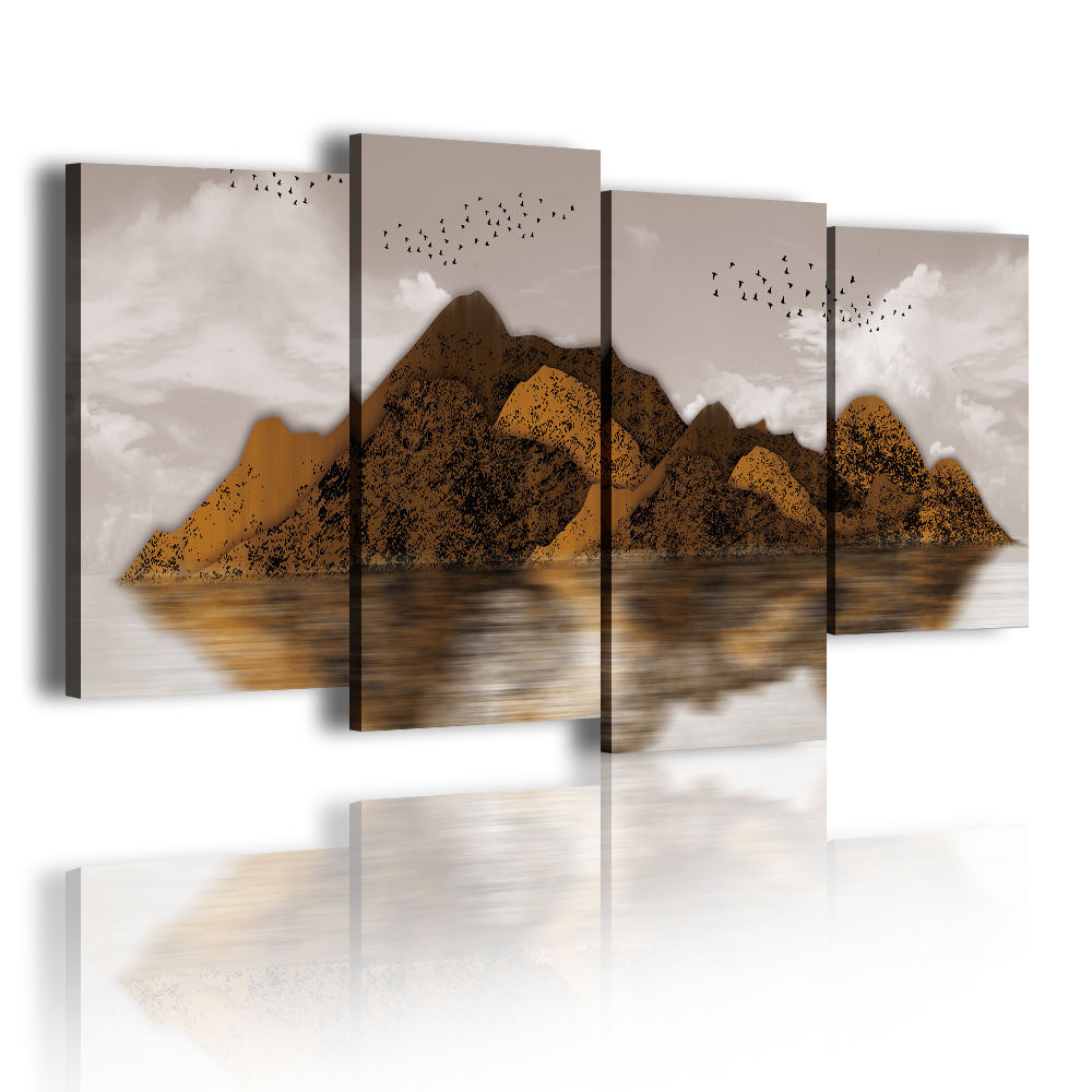 Gold Mountain Mid-lake Island 4 Panel Frame Canvas Photo Picture For Home Decor