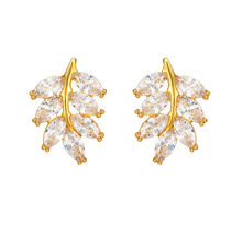 E-212 Xuping trendy 24k gold plated jewelry earrings, cubic zirconia customized earrings, luxury crystal leaf women earrings