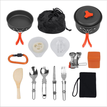 13 pcs Outdoor camping cookware set with burner 1-2 Person picnic pot combination portable outdoor cooking set