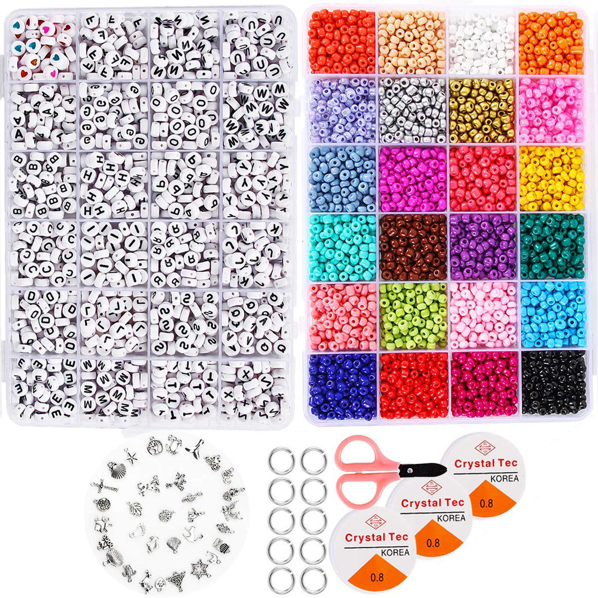 Glass Seed Beads Alphabet letter beads Glass Beads for Jewelry Making DIY Set Kit