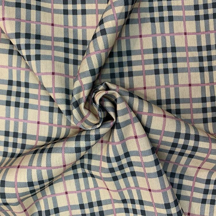 High quality Manufacturers supply printing backside knit bonding polyester plaid fabric for jackets