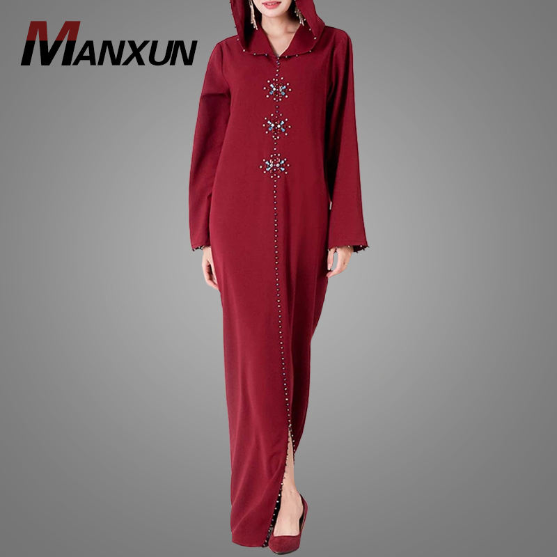 Stylish Front Crystal Embroidery Glam Abaya Dress Muslimah Women Islamic Clothing