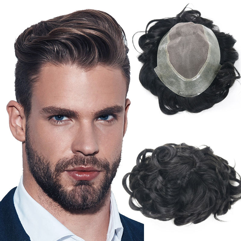 Top Quality Human Hair Men Topper Cheap Toupee Hairpiece Toppee Wig