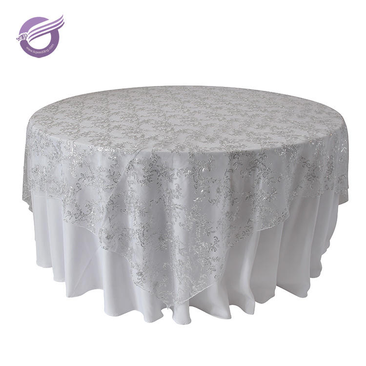 TX00072 Fancy wedding silver net embroidery sequin tablecloth overlay