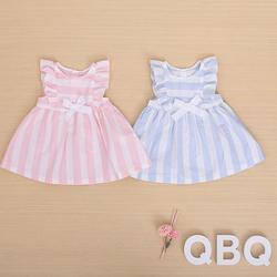 100% cotton fancy sleeveless o-neck striped summer dress for baby girl