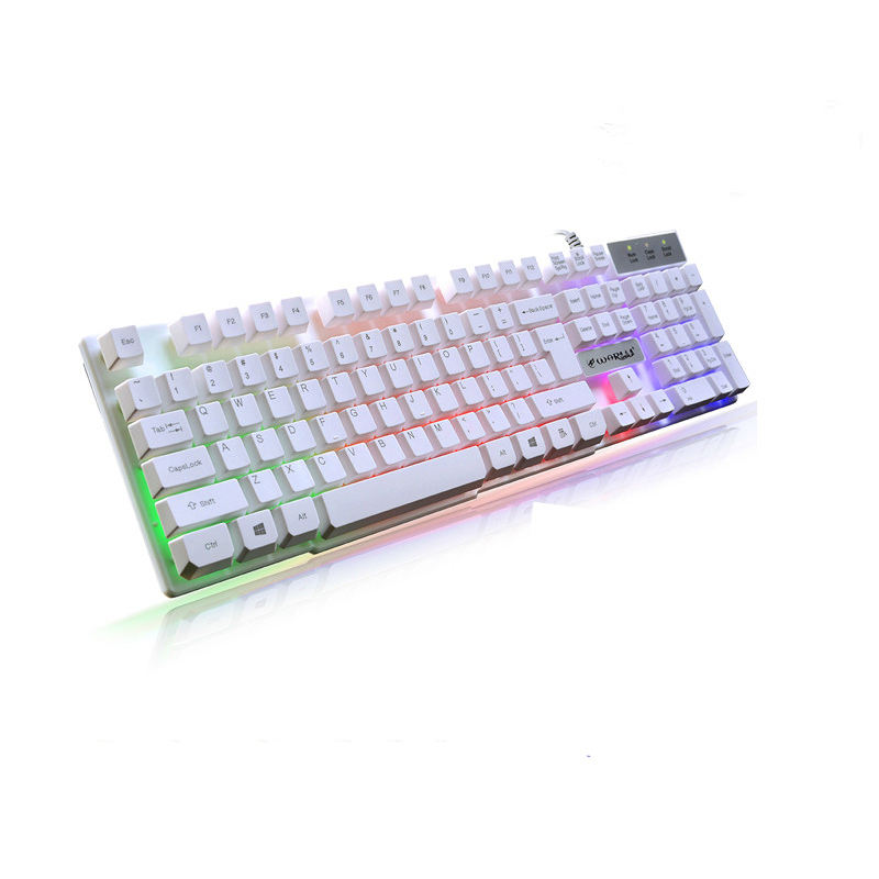 War K1 Suspension Robot Handle Glowing Gaming Keyboard Home Office Computer Keyboard Character Illuminated White Keyboard