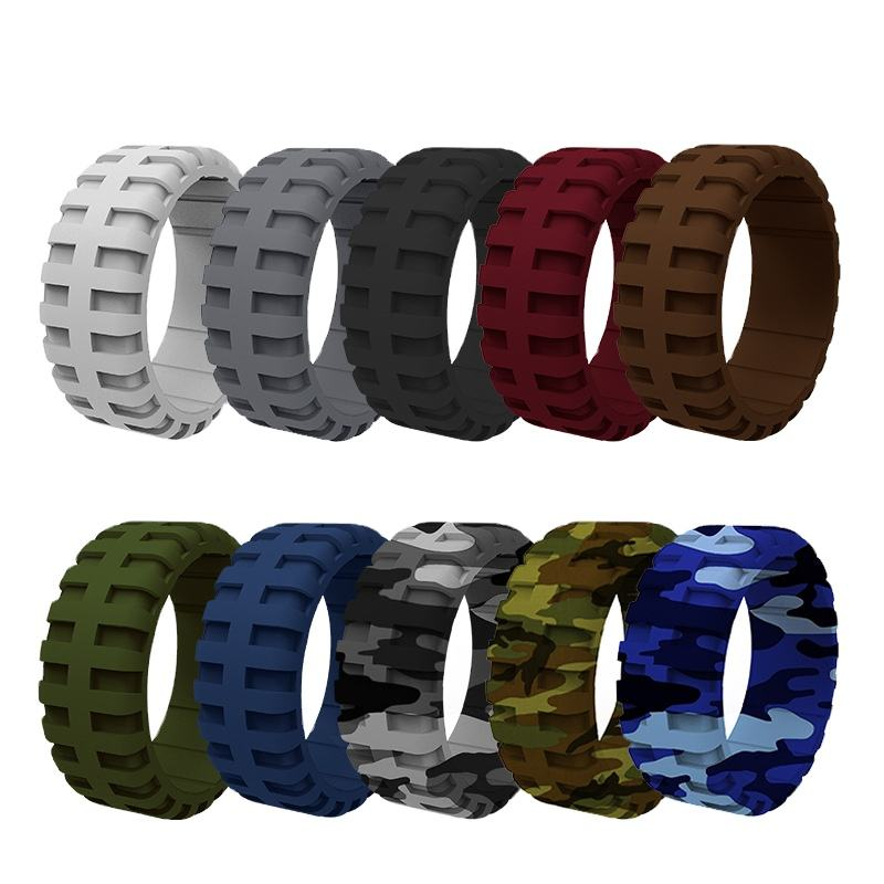 Comfortable 9mm Silicone Wedding Ring Tire Tread Design Rubber Wedding Bands for Men