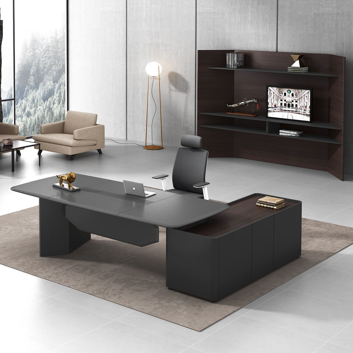 Commercial Executive Office Furniture 2.4m Luxury Modern Design Boss Leather Office Desk