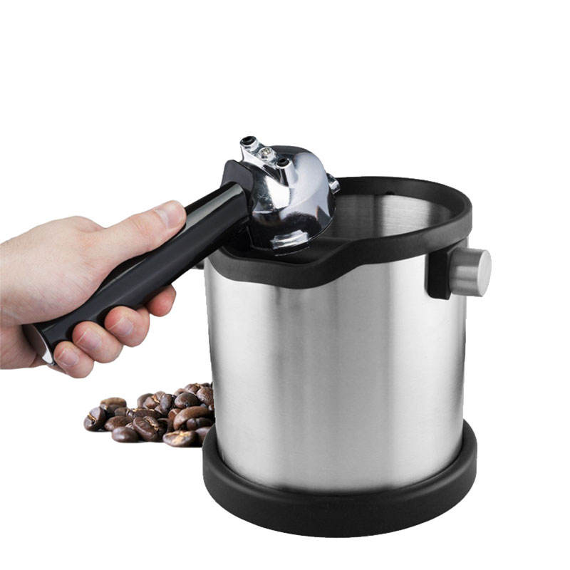 For barista with detachable knock bar grind waste bin espresso dump bin and coffee grind knock box