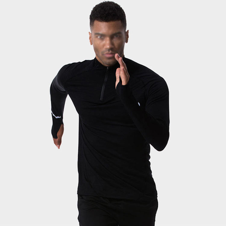 Custom high quality mens long sleeve winter basketball training running sports fitness high collar quarter zip tee