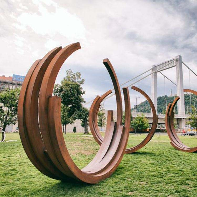 Outdoor art decoration garden large abstract art Stainless steel corten steel sculpture for sale