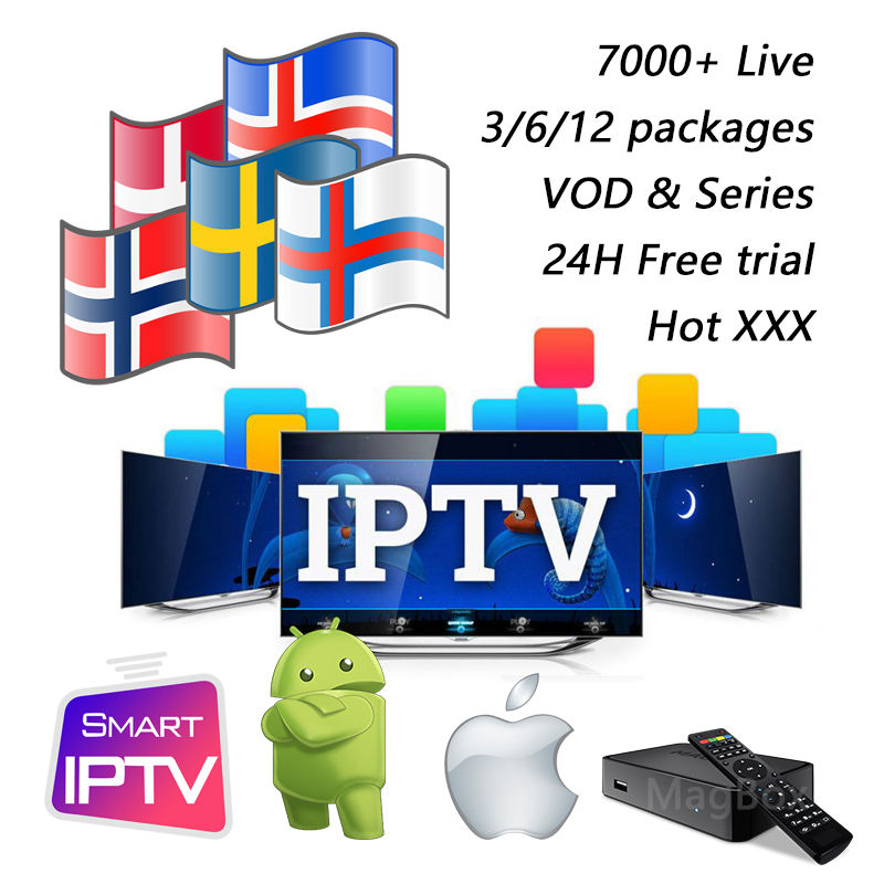 3 6 12 Months IPTV Subscription m3u Sweden Scandinavia Norway Denmark Finland Iceland Nordic smart TV mag250x android tv box