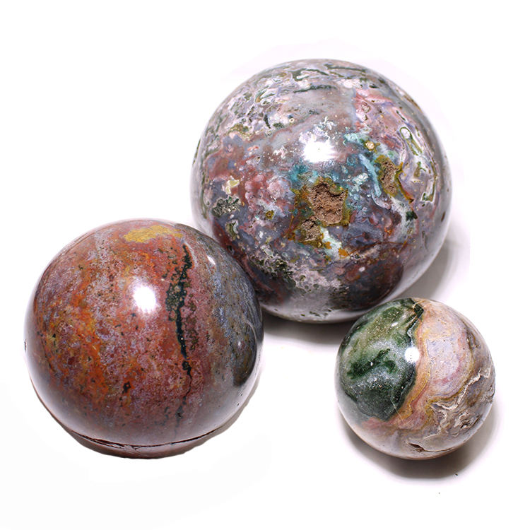 Highly Polished Natural Colorful Ocean Jasper Healing Stone Crystal Spheres