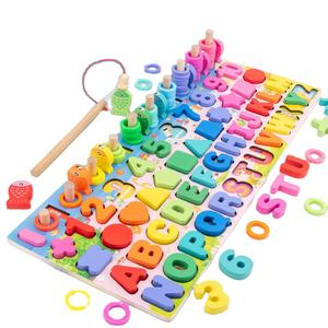 Baby Montessori Math Toys Kids Educational Wooden Toys 5 in 1 Fishing Count Numbers Matching Digital Shape Board Puzzle Toy