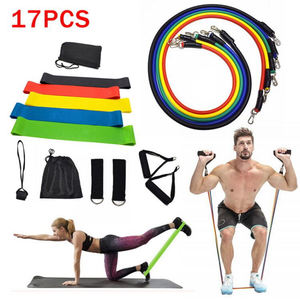 17pcs Resistance Bands Set Expanded Yoga Exercise Fitness Rubber Tubes Band Stretch Training Home Gym Workout Elastic Pull Rope