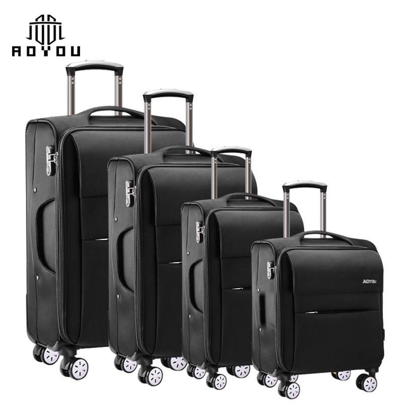 "4pcs 16""/20""/24""/28"" customized soft luggage carry on business suitcase travel luggage set"