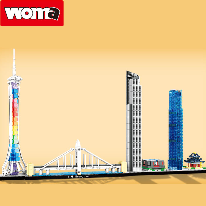 WOMA toys factory 1134PCS Architecture Guangzhou Chinese city model toys building blocks