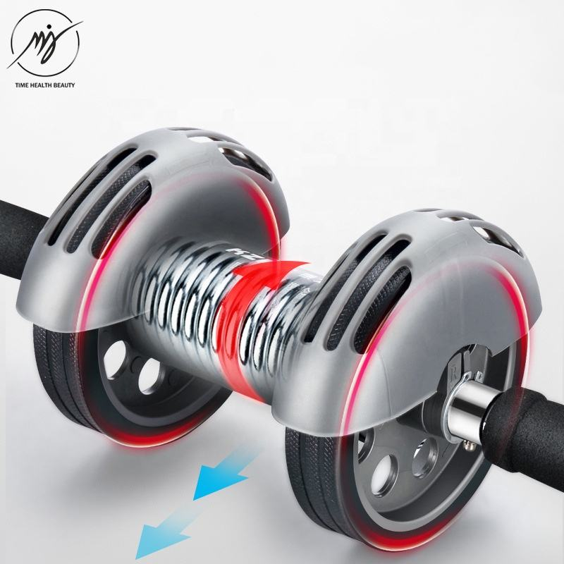 New design adult men abdominal machine silent gray automatic rebound ab wheel roller double wheels coaster