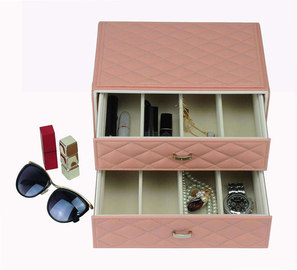 2020 Best Gift for Girls Pink Color PU Leather Drawer Jewelry Lipstick Display Box