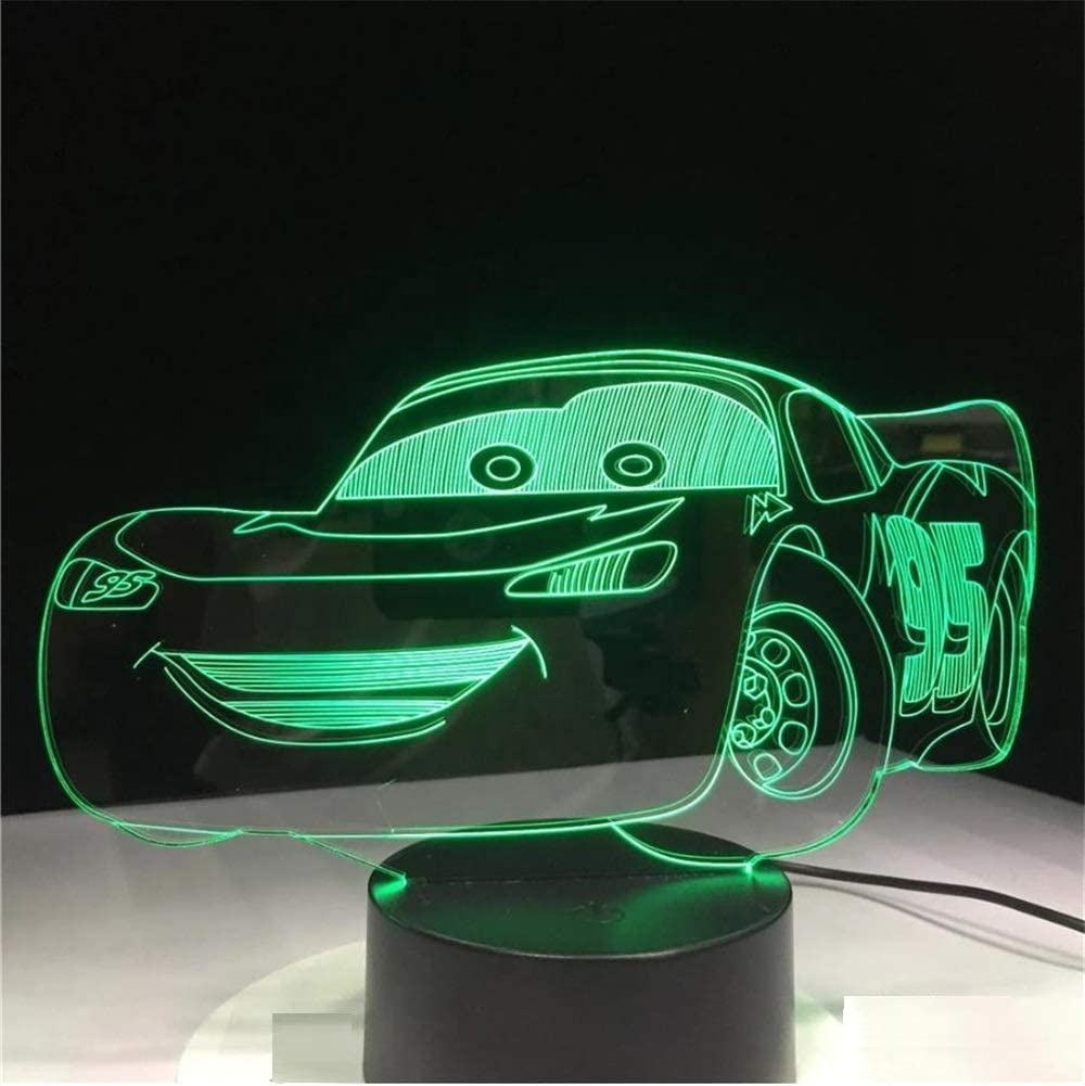 Boys Birthday Gift Lightning Mc Queen Route 66 Your Racing Car 3D 7 Color Lamp Visual Led Night Lights for Kids Touch USB