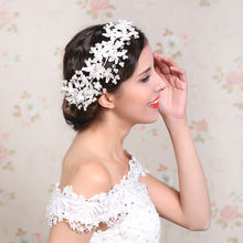 Lace flower hair wedding accessores bridal headdress crystal pearl jewelry bridal headpieces
