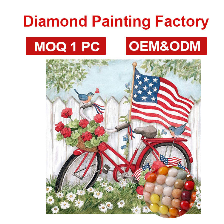 OEM ODM factory Best selling new home crafts Modern colorful bicycle creative diamond painting for wall decoration