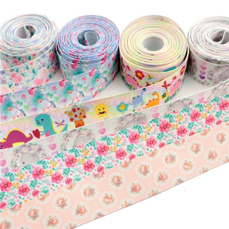 "Wholesale 1""25mm 5 Yards Animal Flower Heat Transfer Printed Grosgrain Ribbon For Girls Cheer Bows Decoration 14701"