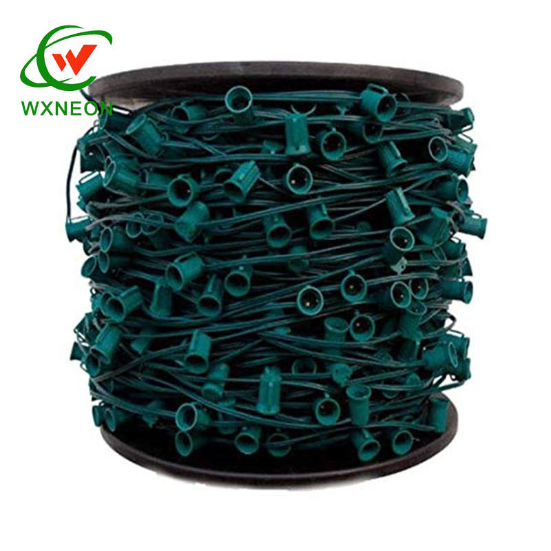 Commercial Grade outdoor c9 1000 spool 12'' space socket green wire christmas Patio party used string light