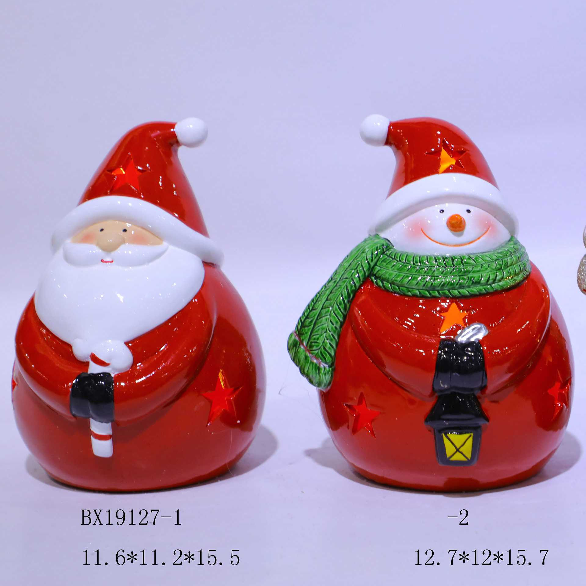 Set of two Christmas (Xmas) LED light up Santa's and Snowman's figurines, Fat