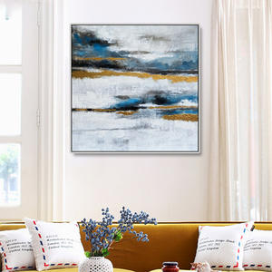 Abstract art painting sliver framed canvas wall art for living room home decor