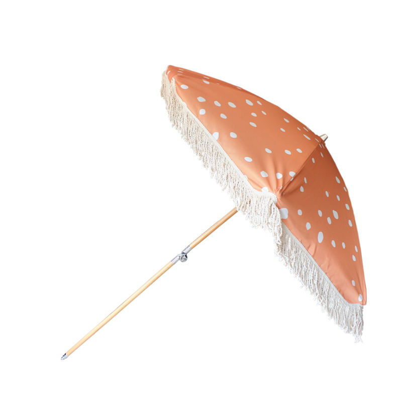 Fantastic parasol hot sale customized wooden handle beach umbrella with tassels