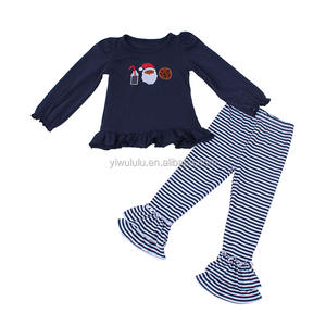 Fashion Baby Girl Clothing Christmas Set Santa Embroidery Top Stripe Pants Baby Christmas Outfit