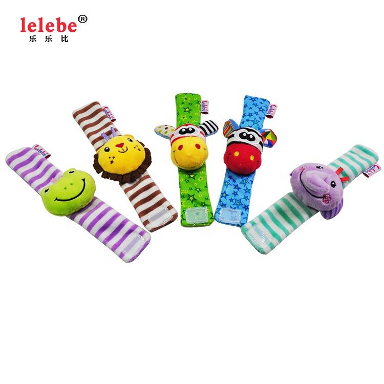 Baby wrist strap hand bell 2020 OEM wholesale infant hand bell plush soft animal wrist band other toys baby rattles