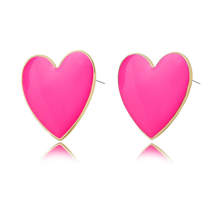 2019 latest summer colorful fashion pink yellow Dripping oil enamel big love heart earrings