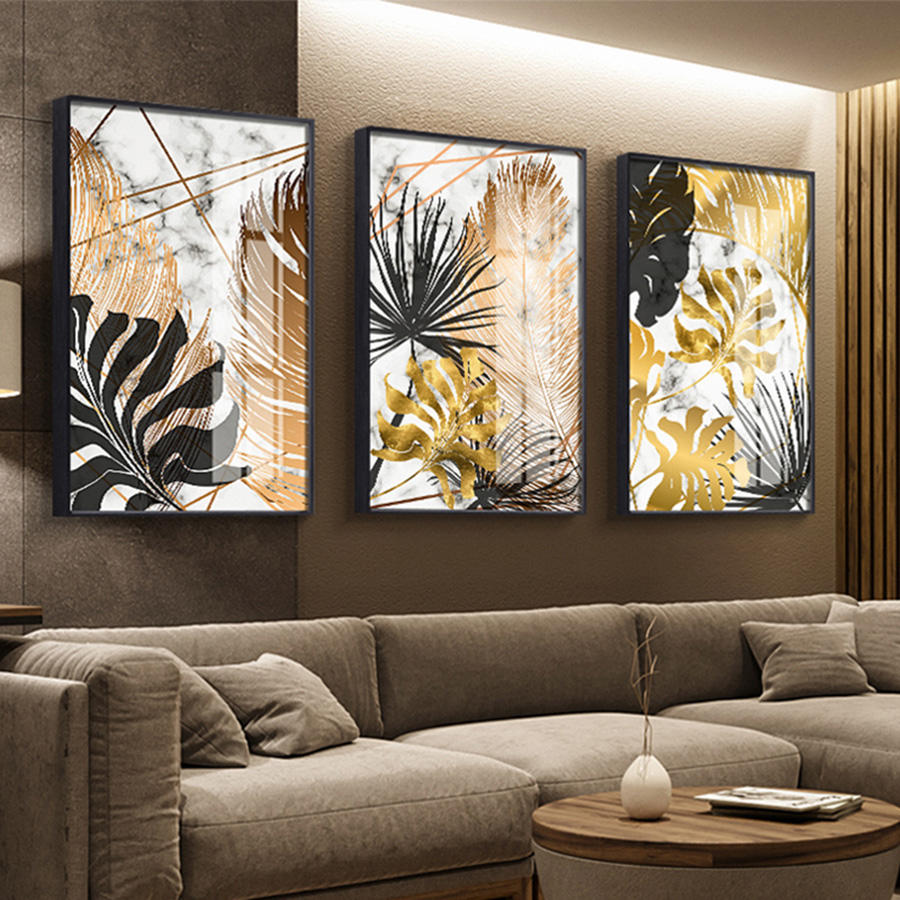 Wall Art Nordic Plants Gold leaf Canvas Painting Abstract Marble Posters and Print wall painting canvas