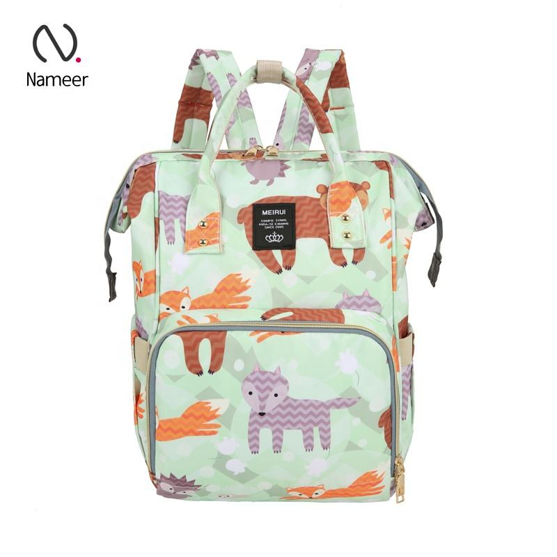 New arrival waterproof colorful print material mummy mommy multifunctional new born baby bags diaper backpacks