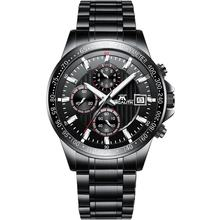 Megalith Top Brand Mens Watch Mechanical Multifunction 3 Eyes Waterproof Calendar Luxury Wristwatch  Stainless Steel Chronograph