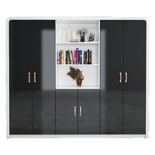 High end black painting MDF wall display filling shelf storage file cabinet