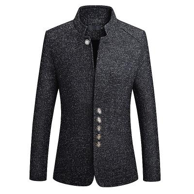 Blazer Men春New ChineseスタイルBusiness Casual Stand Collar Male Blazer Slim Fit Mens Blazer Jacket Size M-5XL