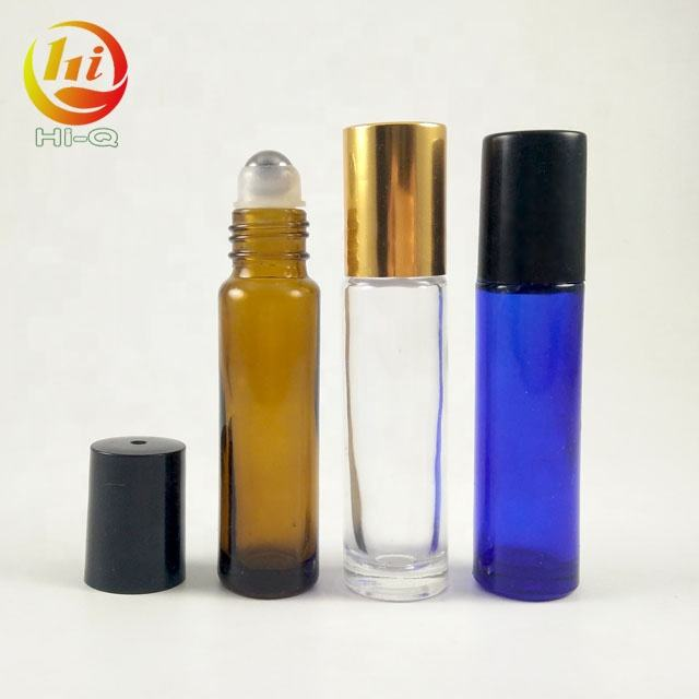 customize amber 10ml glass roll on bottles wholesale 10 ml blue clear Transparent Empty Roller Bottle